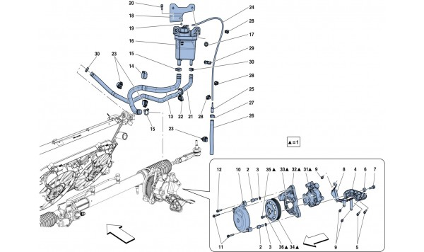 POWER STEERING PUMP AND RESERVOIR