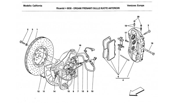 FRONT WHEEL BRAKE SYSTEM COMPONENTS