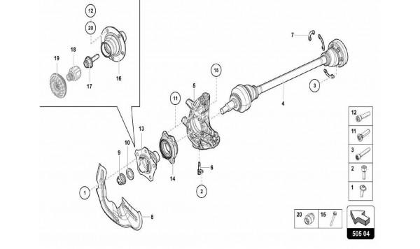 043 Rear Crosspiece - Axle Shaft