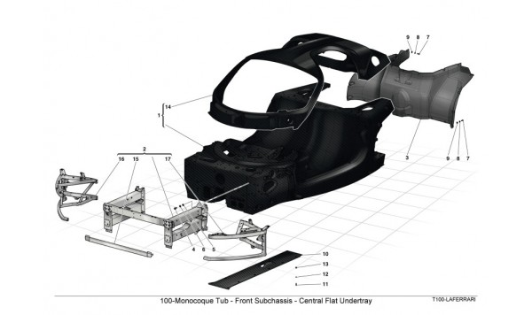 100-Monocoque Tub - Front Subchassis - Central Flat Undertray