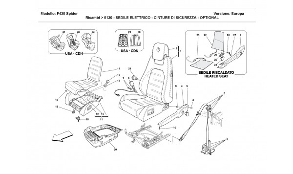 ELECTRICAL SEAT - SAFETY BELTS - OPTIONAL