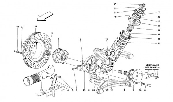 Front suspension - Shock absorber and brake disc