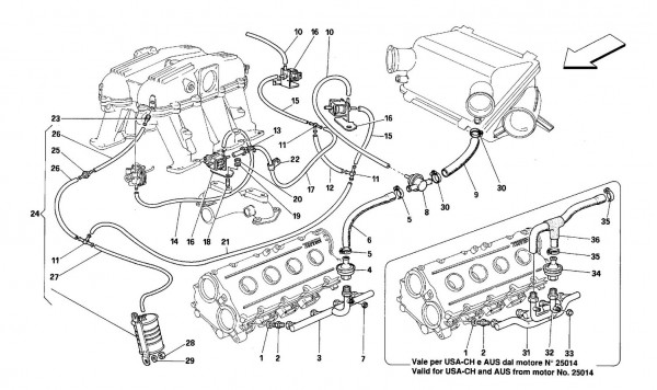 Air injection device -For cars with catalyst - MOTRONIC 2.7-