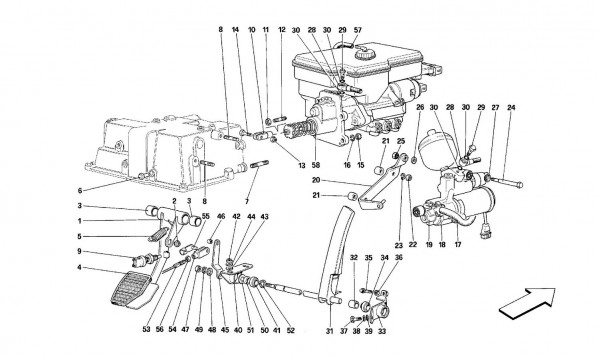 Throttle pedal and brake hydraulic system -Valid for GD-