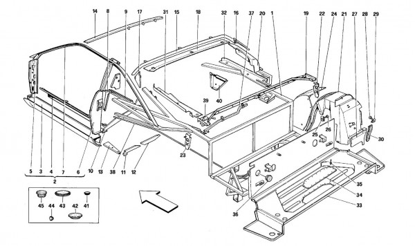 Body shell: inner elements - Rear part -Coupé-