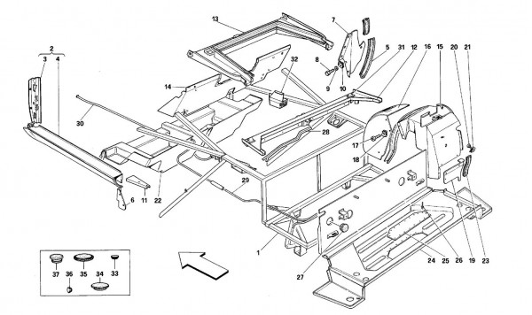 Body shell: inner elements - Rear part -Cabriolet-