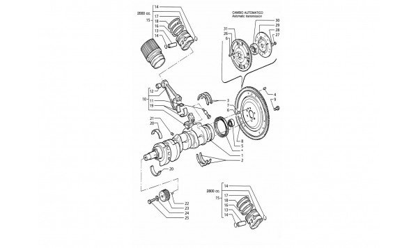 CRANKSHAFT, PISTONS, CONNECTING RODS AND FLYWHEEL