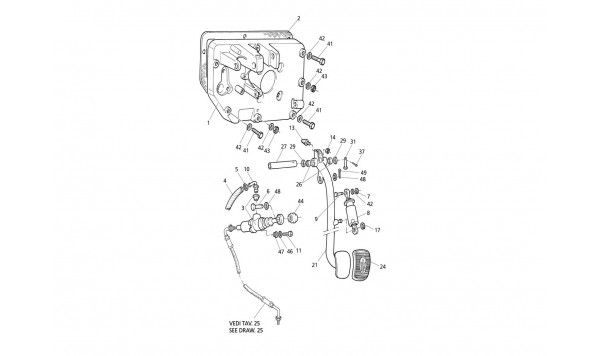 CLUTCH PEDAL AND PUMP - PEDAL SUPPORT (L.H. Drive)