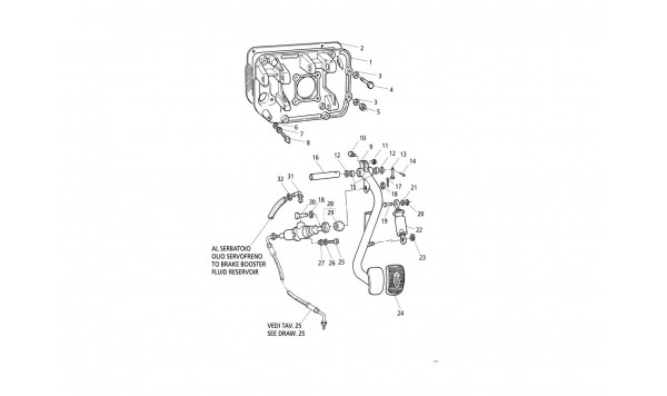 CLUTCH PEDAL AND PUMP - PEDAL SUPPORT (R.H. Drive)