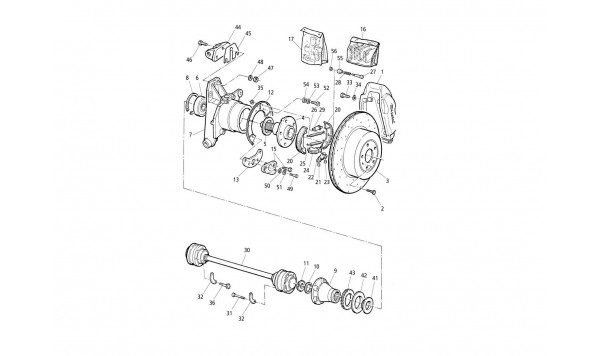 HUBS, REAR BRAKES WITH A.B.S. AND DRIVE SHAFTS