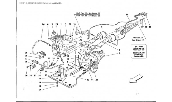 EXHAUST SYSTEM - Variations for USA and CDN-
