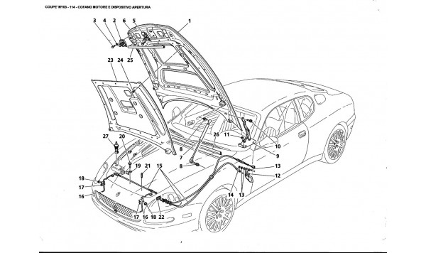 ENGINE BONNET AND OPENING DEVICE