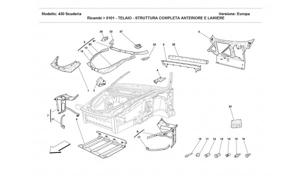 FRAME - COMPLETE FRONT PART STRUCTURES AND PLATES