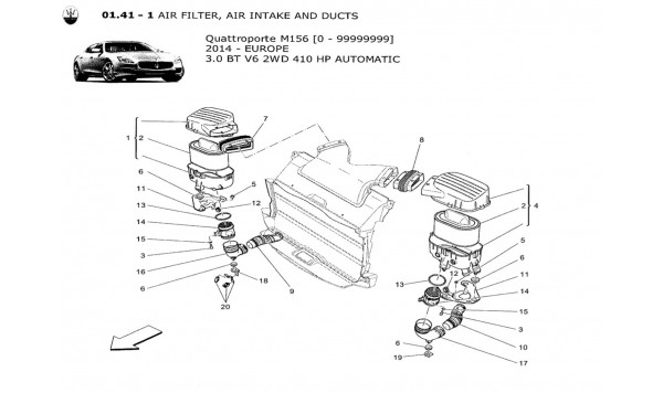 AIR FILTER, AIR INTAKE AND DUCTS
