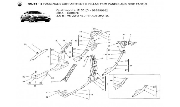 PASSENGER COMPARTMENT B PILLAR TRIM PANELS AND SIDE PANELS