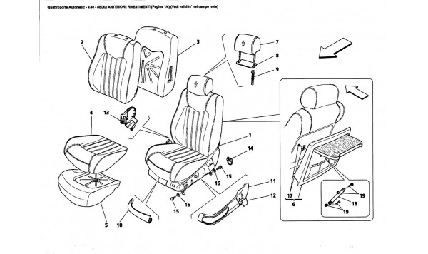 FRONT SEATS: LININGS (Page 1/4) (See validity on note field)