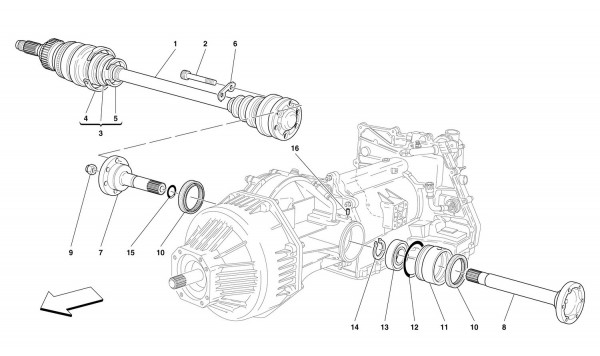FLANGES AND AXLE SHAFT -Valid for 456 GTA-